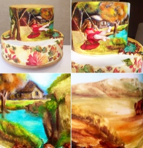 ferhan dilek uluocak pasta butik salıncaklı kız swinging girl cake design seker hamuru sugar paste paint
