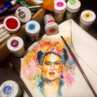 Şeker hamuru üzeri resimleme / pasta boyama / fondant painting / cake painting/ Frida