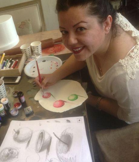ferhan dilek uluocak butik sanat pasta resimleme ders cake painting sugar paste design kurs seker hamuru