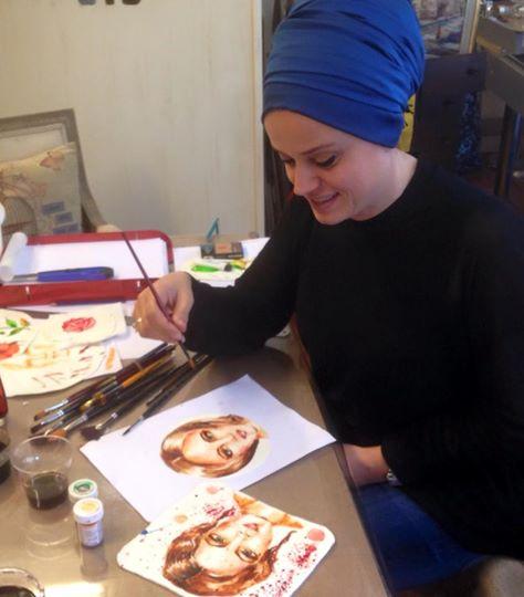 selma sonay ferhan dilek uluocak şeker hamuru üzeri resim teknikleri dersi fondant painting cake atölye