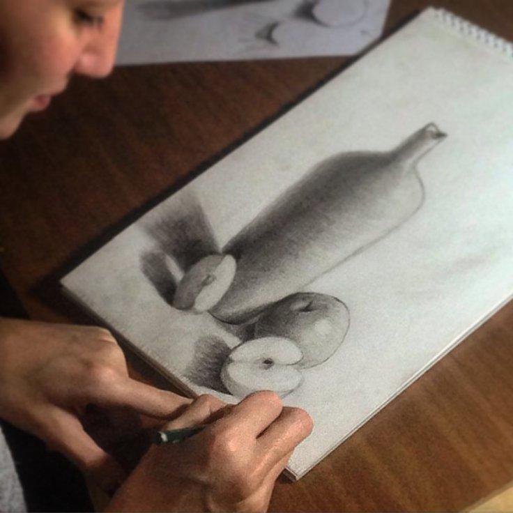 ferhan-dilek-uluocak-fondant-painting-sketch-resim-ders-isik-golge-fruits-meyve-drawing-cizim-karakalem