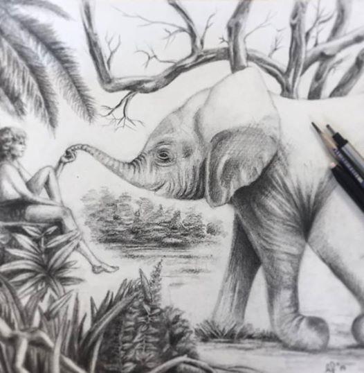scetch elephant jungle book resim dersi drawing pencil ferhan dilek uluocak cizim