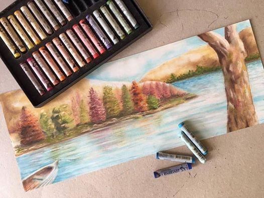 soft pastel water sea view sketch drawing painting ferhan dilek uluocak resim dersi fine arts