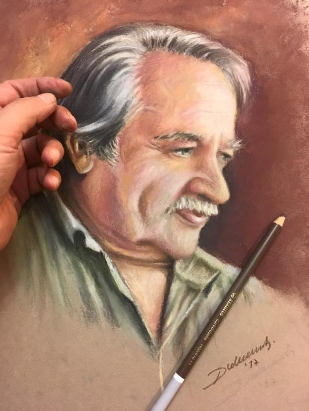 sketch soft pastel painting ferhan dilek uluocak cetin uluocak drawing resim sanat art portrait portre karakalem cizim