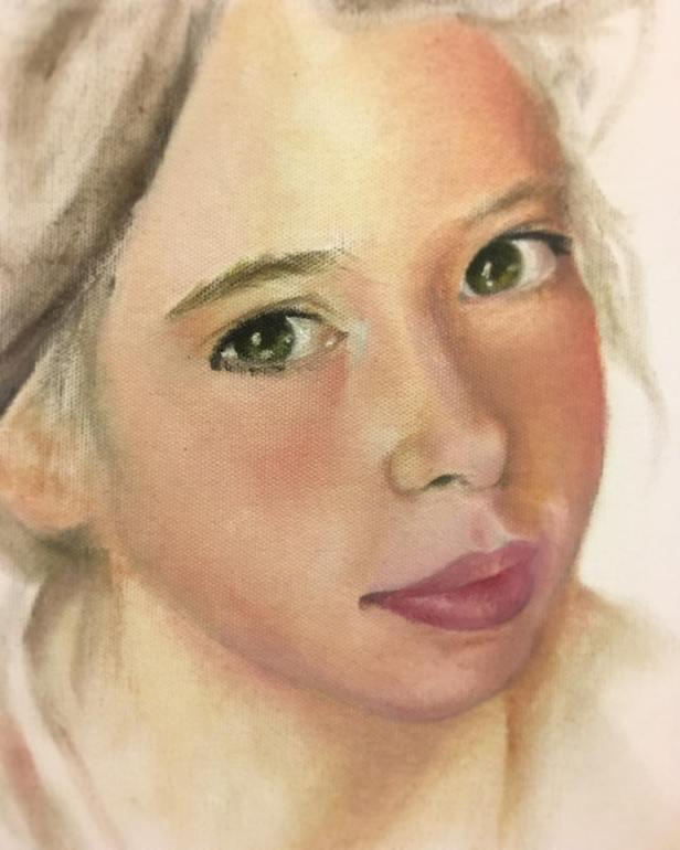 ferhan dilek uluocak soft dry pastel painting resim cizim portrait pastel boyama art sanat resim dersi atolye blue woman portre oil painting canvas